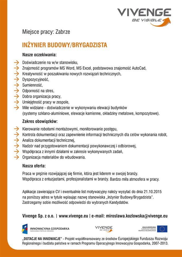Praca Inzynier Budowy Brygadzista Zabrze śląskie Pracujpl