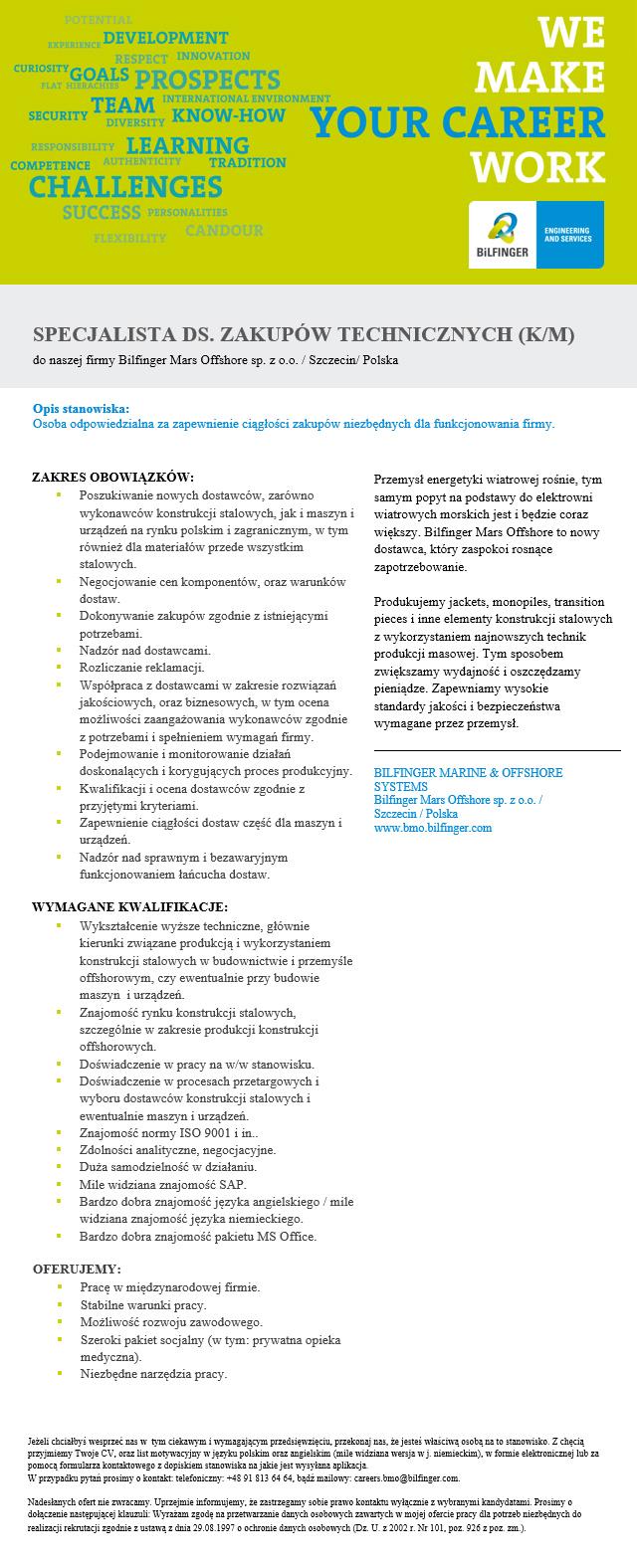 Praca Specjalista Ds Zakupów Technicznych Km Szczecin