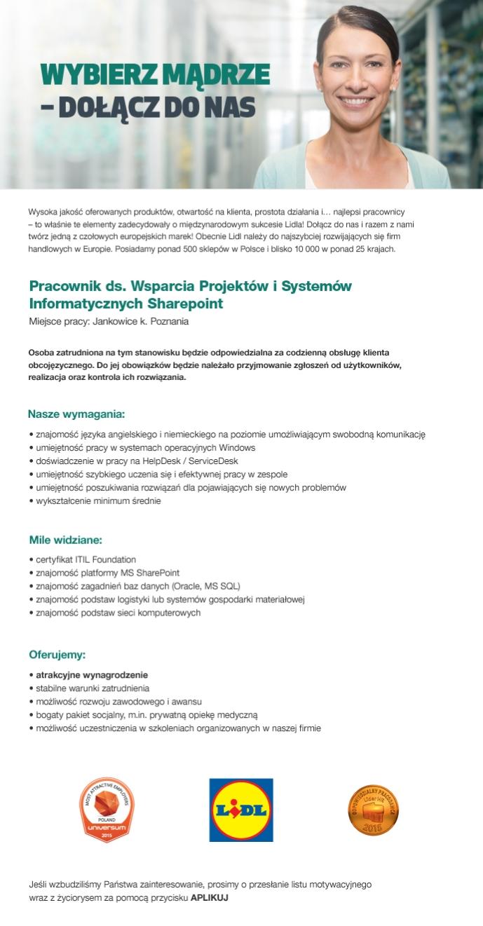 8eb6e263221a29 Pracownik ds. Wsparcia Projektów i Systemów Informatycznych Sharepoint