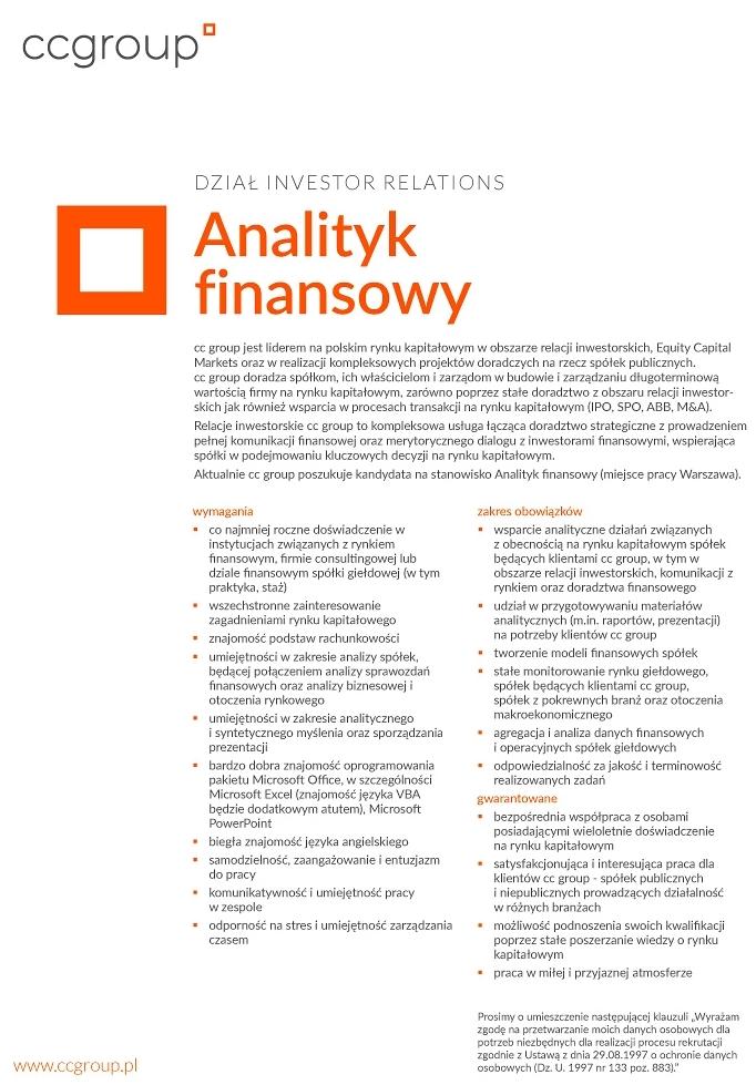 Praca Analityk Finansowy Warszawa Mazowieckie Pracujpl